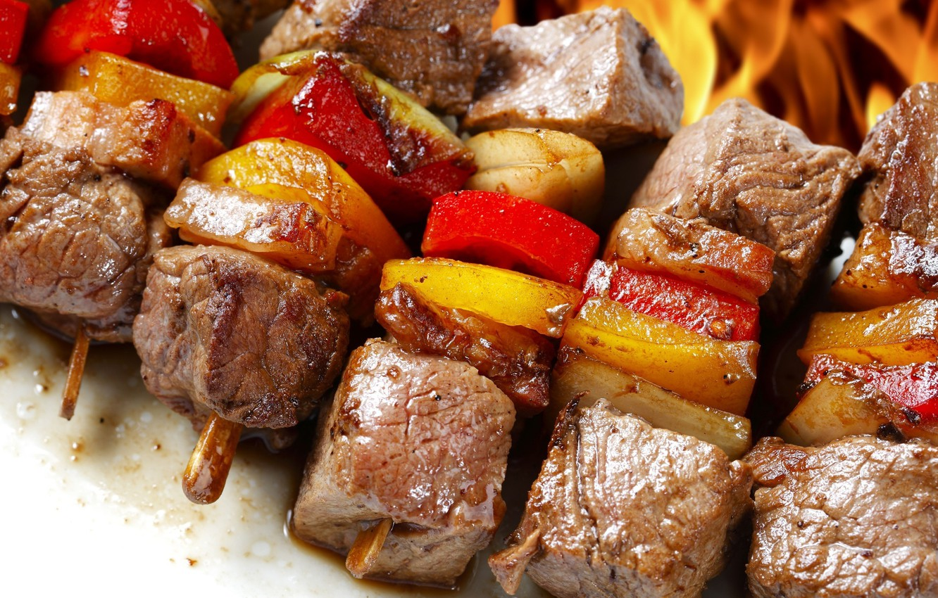 Photo wallpaper food, vegetables, kebab.meat