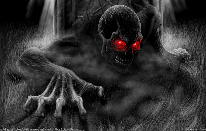 Photo wallpaper skull, black and white, monster, Death, Andrew Dobell