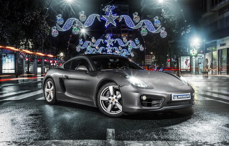 Photo wallpaper Porsche, Cayman, front, silvery, Michelin, 981C