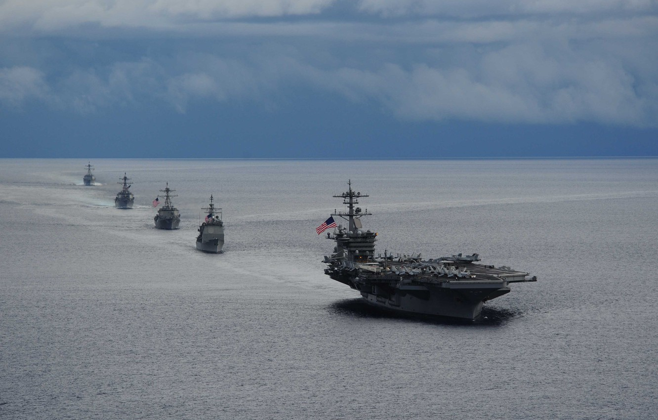 Photo wallpaper military, marine, american flag, naval, USS Theodore Roosevelt, American navy, Nimitz class, nuclear propulsion, RIM-116 …