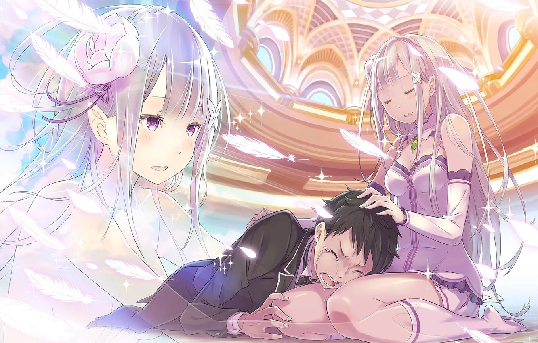 Photo wallpaper girl, guy, tears, anime, art, crying, Emilia, Subaru Natsuki, Re: Zero kara hajime chip isek …
