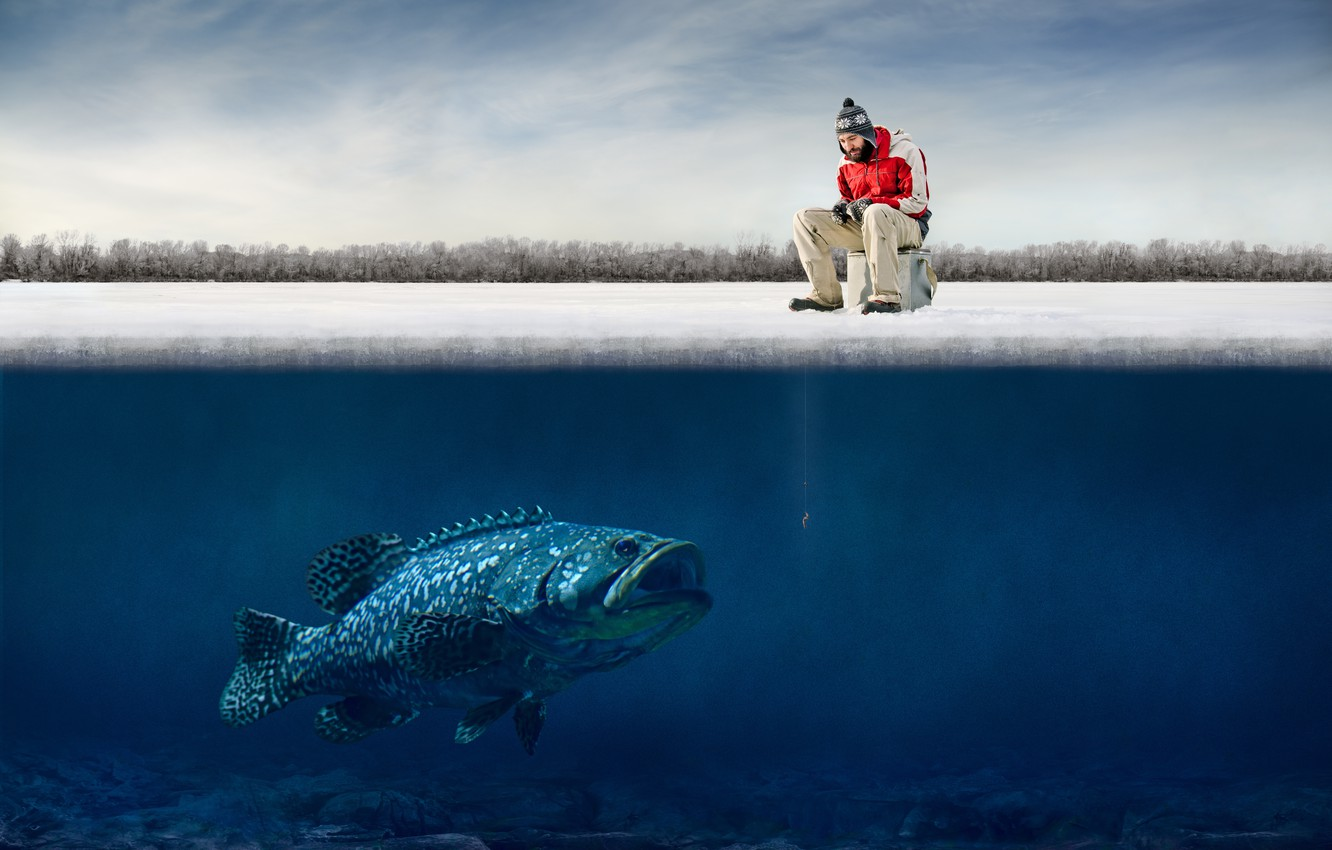 Photo wallpaper ice, humor, fisherman, ice, hooks, fisherman, humor, big fish, funny guy, big fish, Hooks, funny …