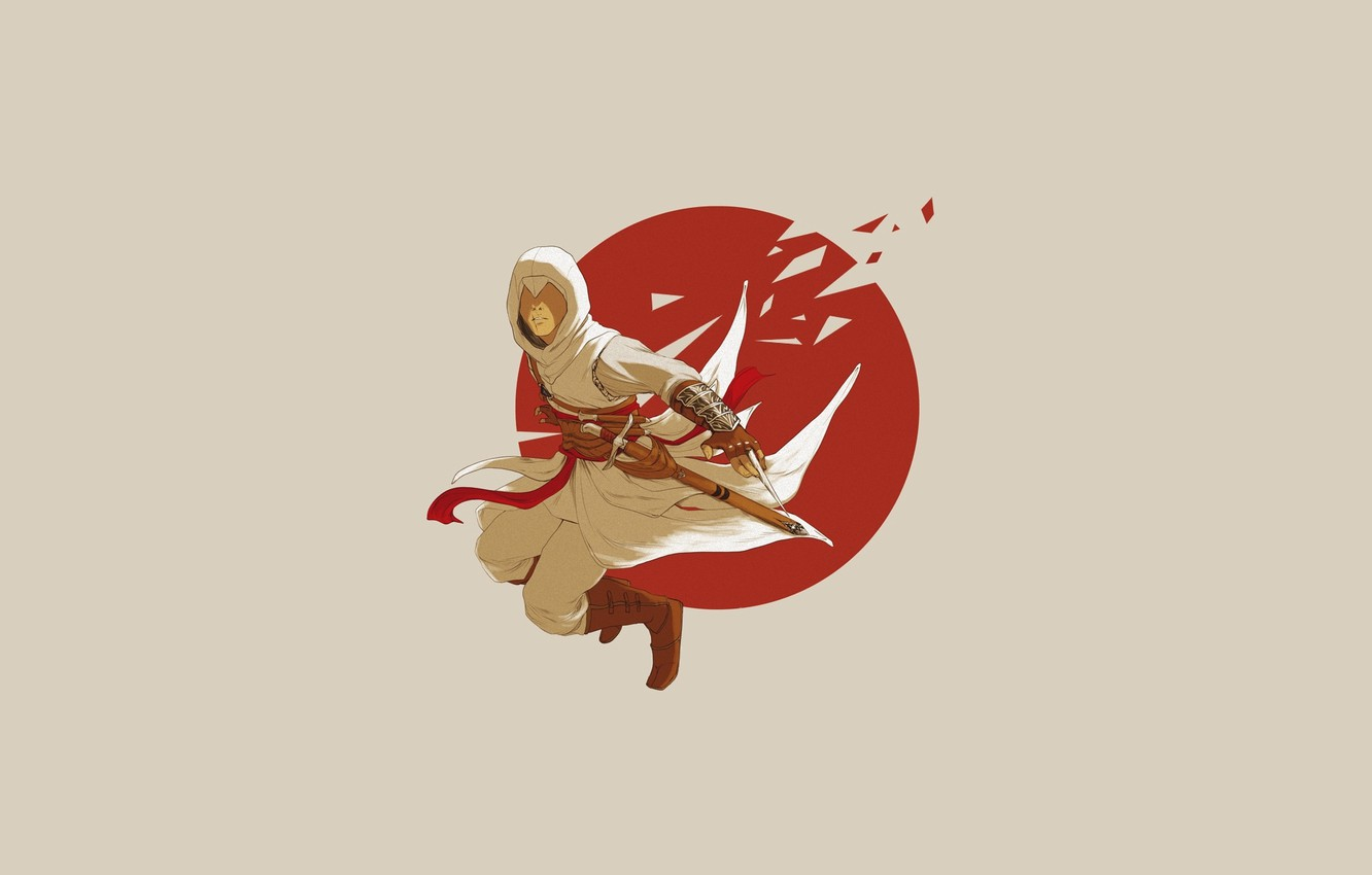 Photo wallpaper jump, the game, minimalism, hood, Altair, killer, blade, ubisoft, assassin's creed, simple background, assassin's creed, …