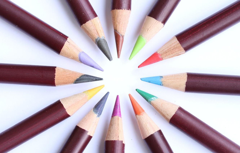 Photo wallpaper colored, round, pencils, stylus