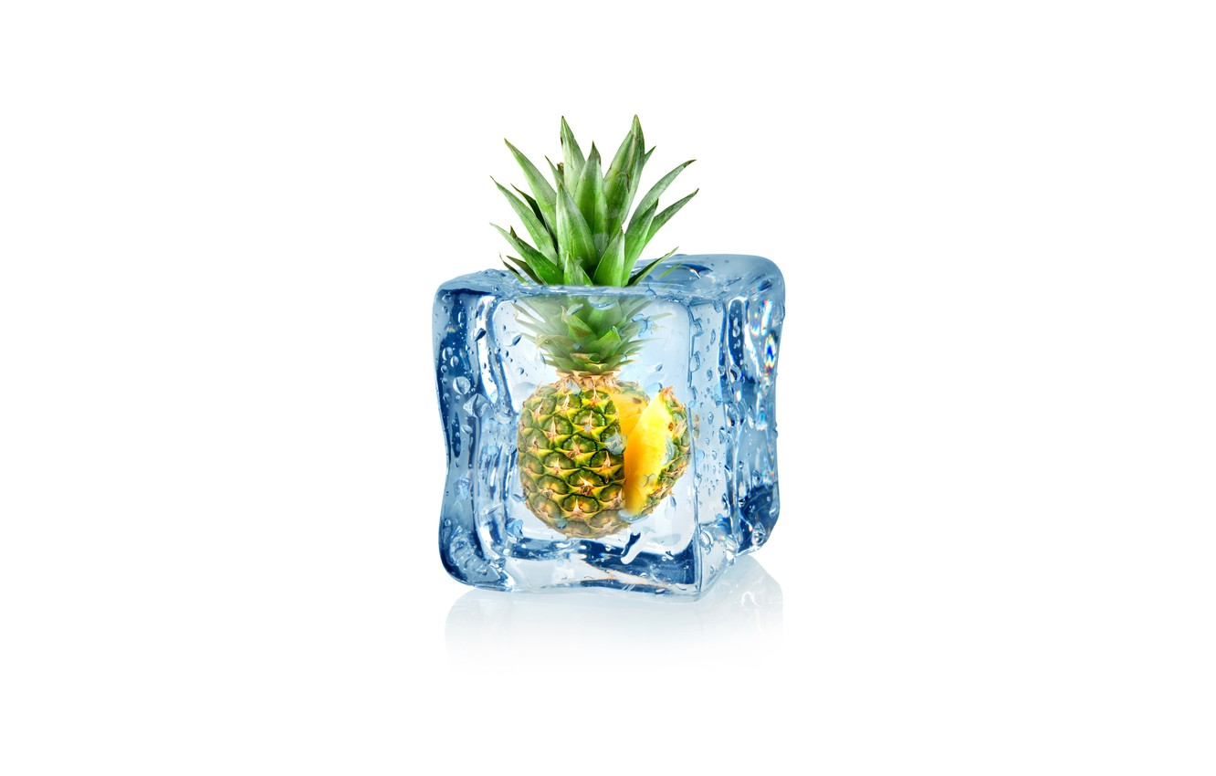 Photo wallpaper drops, abstraction, water, art, ice, cube, pineapple, water, ice, fruit, frozen, drops, pineapple, white background, …