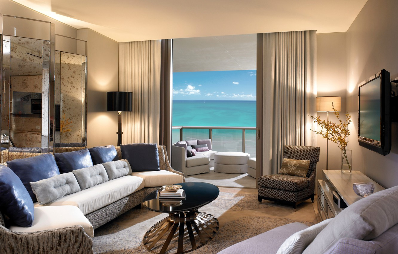 Photo wallpaper design, style, room, the ocean, view, interior, pillow, chairs, balcony, table, sofas, beige, living room