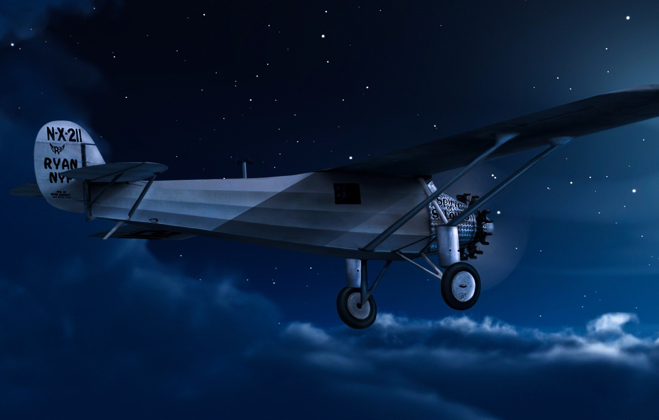 Photo wallpaper the sky, clouds, night, the moon, the plane