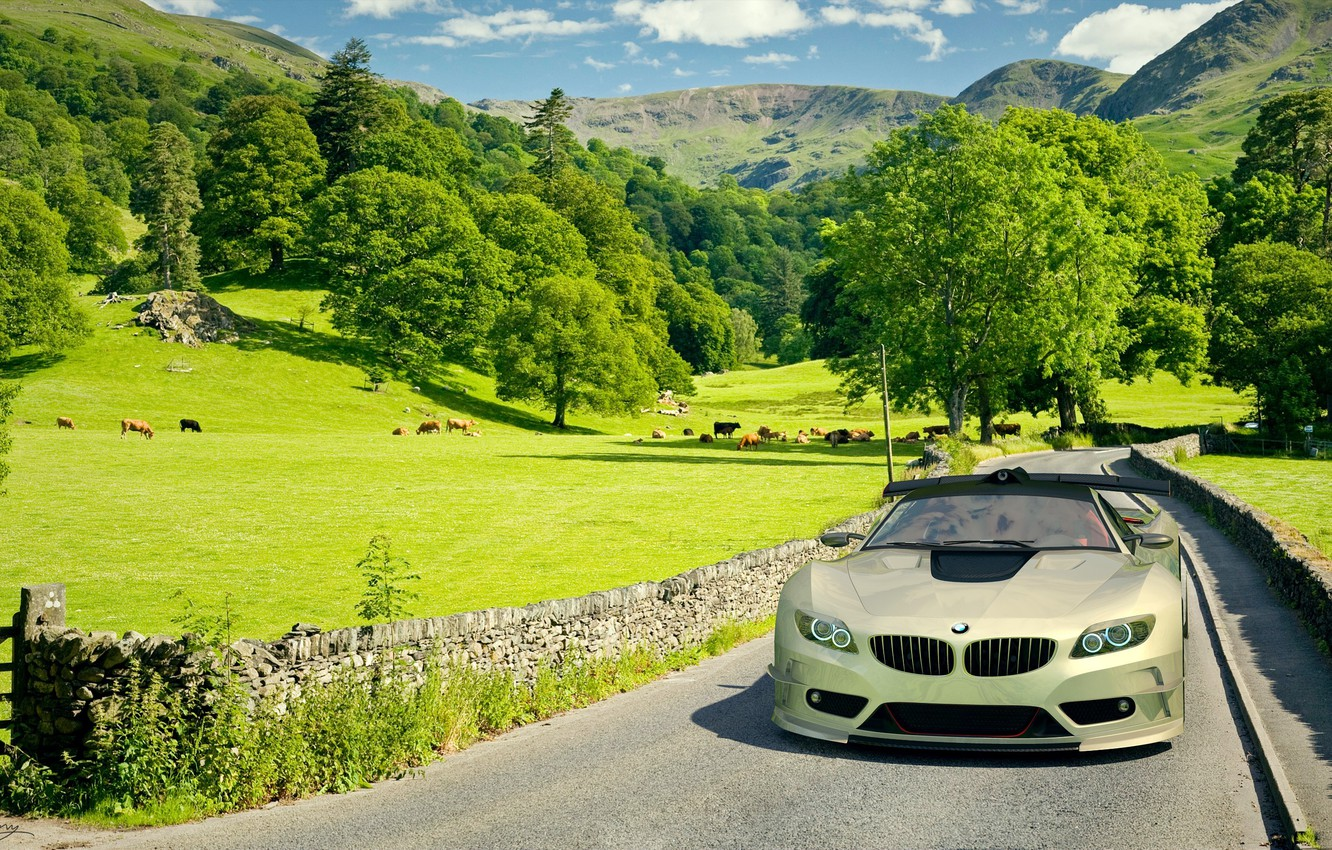 Photo wallpaper field, car, machine, BMW, BMW, car