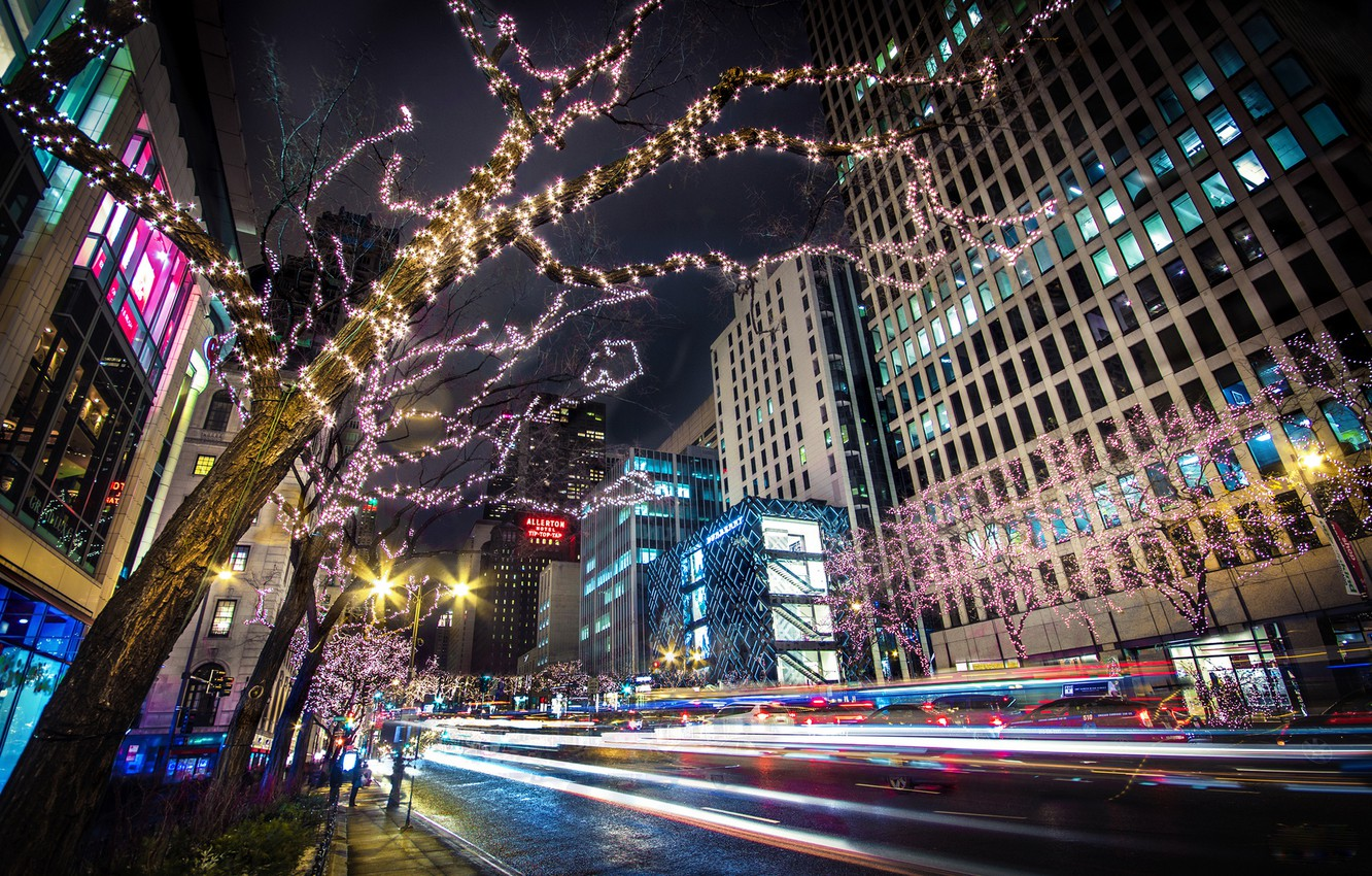 Photo wallpaper road, trees, night, the city, lights, building, home, skyscrapers, excerpt, Chicago, USA, USA, garland, Il, …