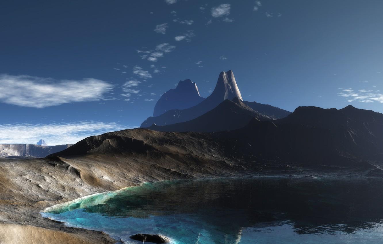 Photo wallpaper lake, rocks, Mountains, panorama