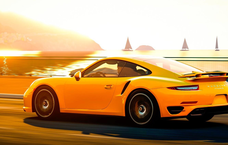 Photo wallpaper road, light, landscape, Porsche, Porsche 911, Turbo S