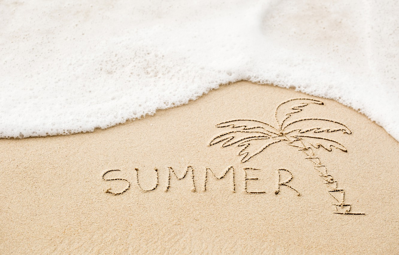 Photo wallpaper sand, sea, beach, summer, the inscription, summer, beach, sea, sand, vacation