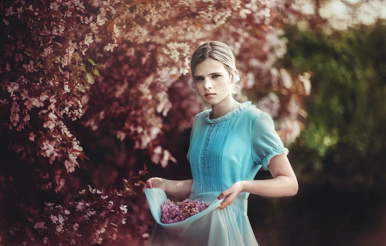 Photo wallpaper nature, spring, garden, girl