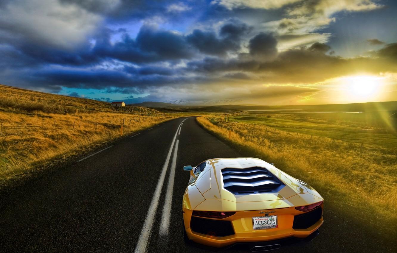 Photo wallpaper road, field, the sky, the sun, yellow, Lamborghini, Lamborghini, Blik, yellow, Lamborghini, LP700-4, Aventador, Aventador, …