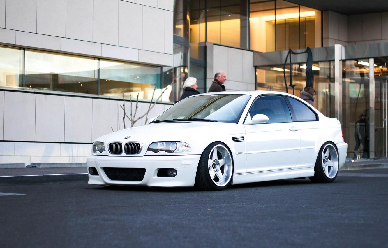 Photo wallpaper tuning, BMW, White, drives, White, E46, stance