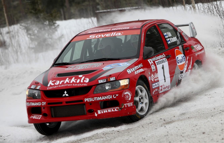 Photo wallpaper Red, Snow, Race, Mitsubishi, Lancer, Evolution, Rally