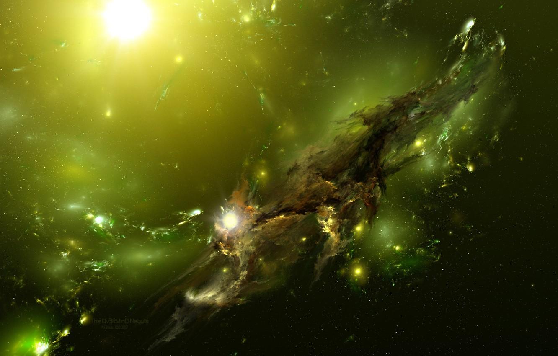Photo wallpaper The universe, green, The Ov3RMinD Nebula