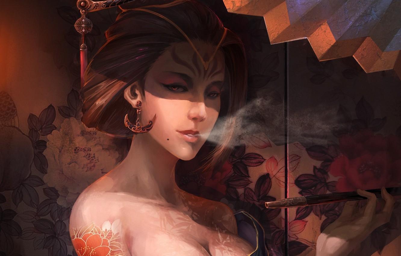 Photo wallpaper girl, flowers, pattern, smoke, earrings, tattoo, art, hairstyle, geisha, screen, kimono, smokes, barrette