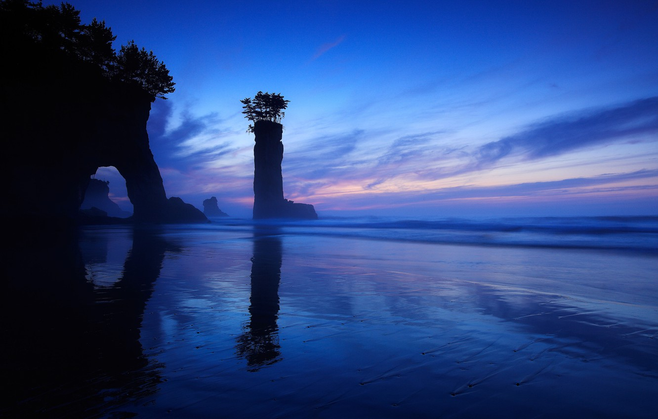 Photo wallpaper sea, the sky, clouds, rocks, post, the evening, arch