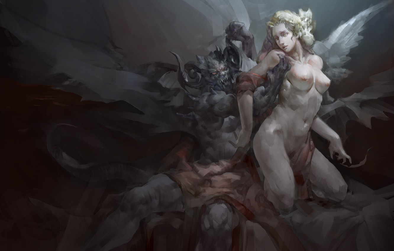Photo wallpaper girl, wings, angel, the demon, art
