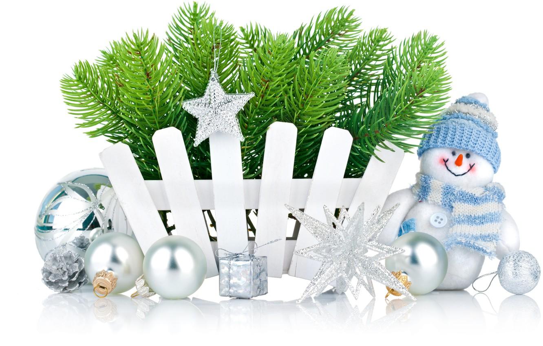 Photo wallpaper stars, decoration, snowflakes, holiday, balls, toys, Christmas, snowman, star, holidays, balls, toy, Merry Christmas, holiday, …