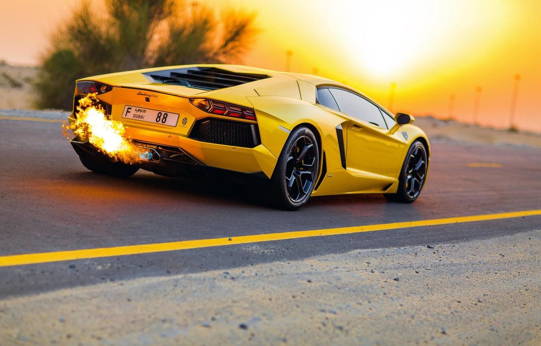 Photo wallpaper Road, Yellow, Lamborghini, Lamborghini, Dubai, Yellow, LP700-4, Aventador, Aventador