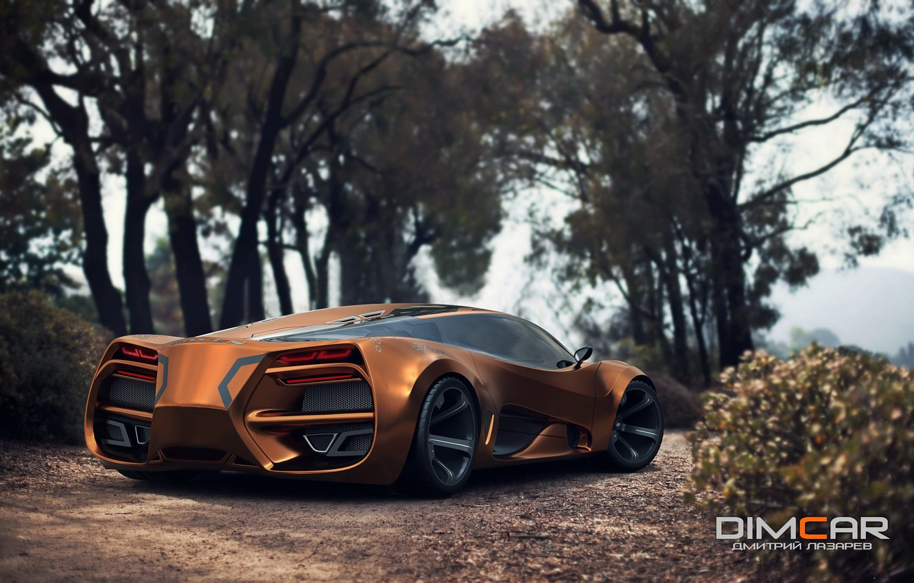 Photo wallpaper Concept, Car, Lada, Gold, 2014, Rear, Raven, by Dmitry Lazarev