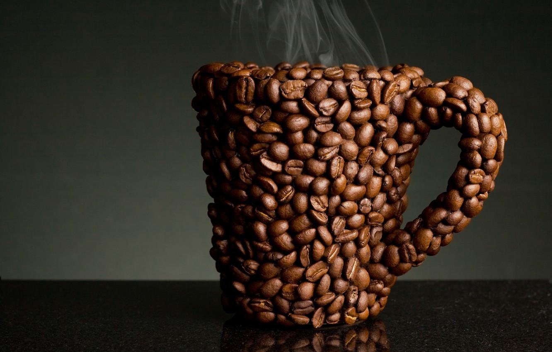 Photo wallpaper coffee, mug, coffee beans