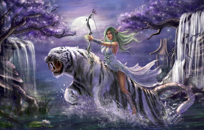 Photo wallpaper girl, trees, night, tiger, jump, bow, waterfalls, elf, WarCraft, Tyrande Whisperwind