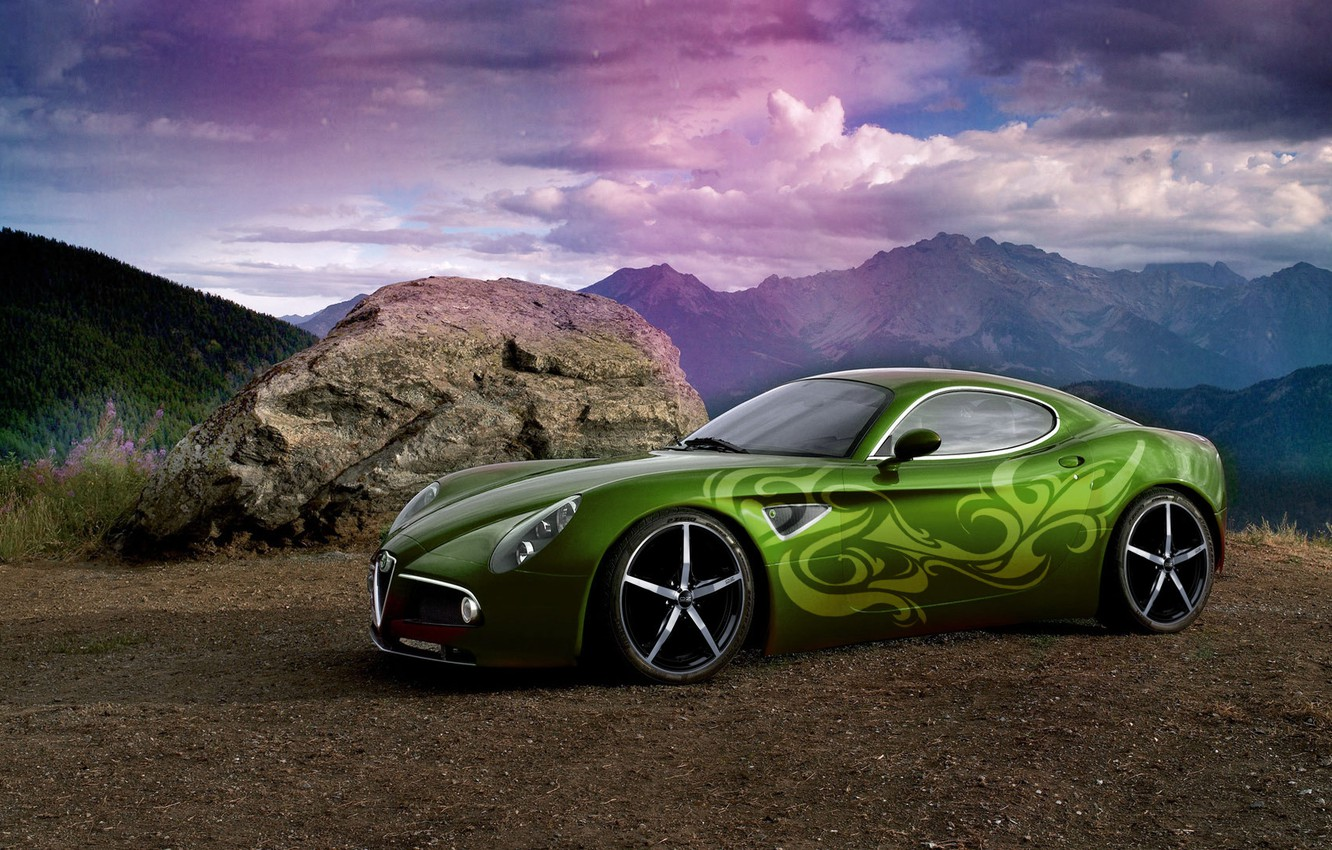 Photo wallpaper the sky, rays, mountains, tuning, stone, rainbow, airbrushing, car, Photoshop, sports