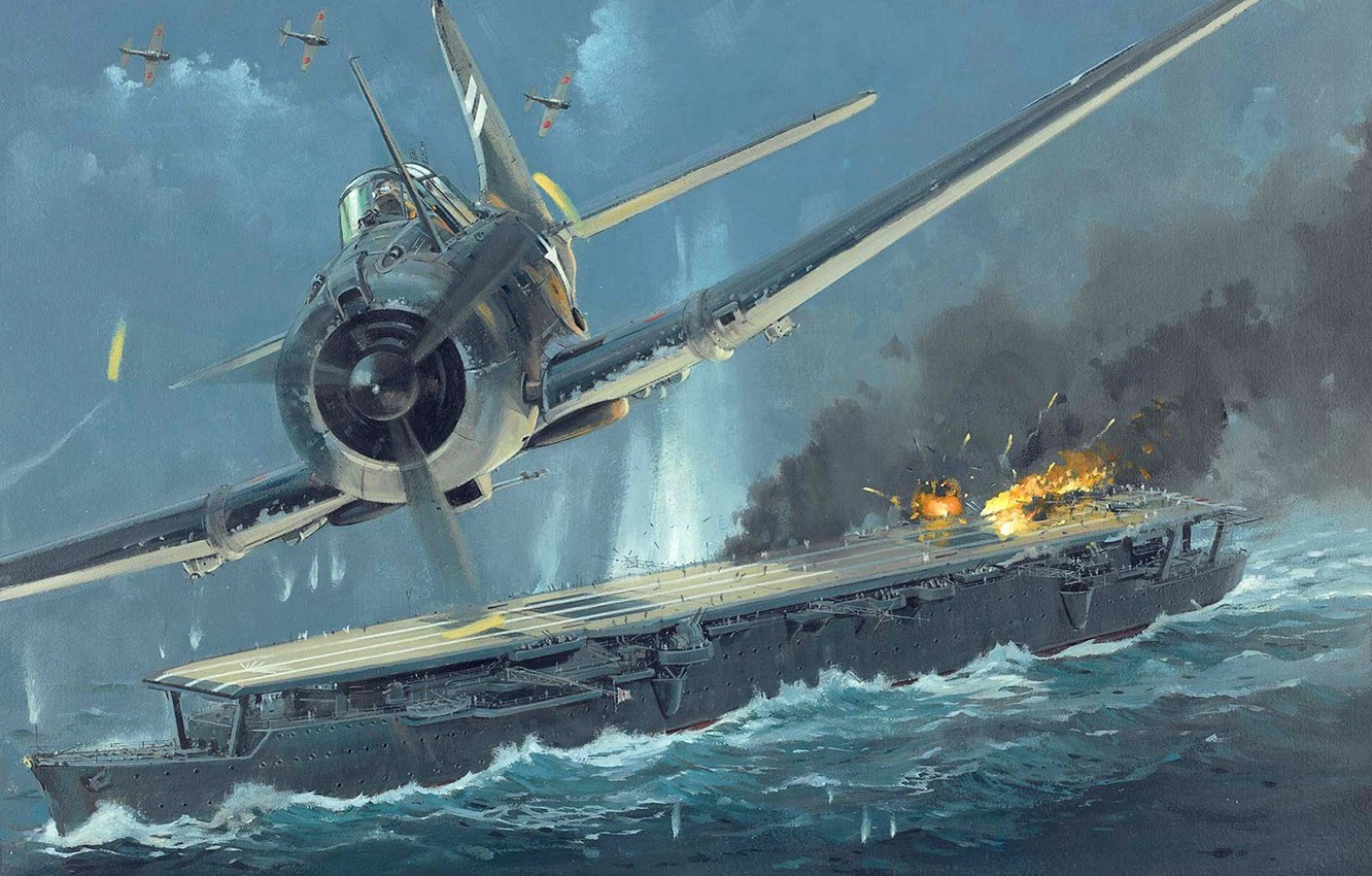 Photo wallpaper the sky, fire, figure, explosions, art, the carrier, the battle, aircraft, Japanese, WW2, American, The …