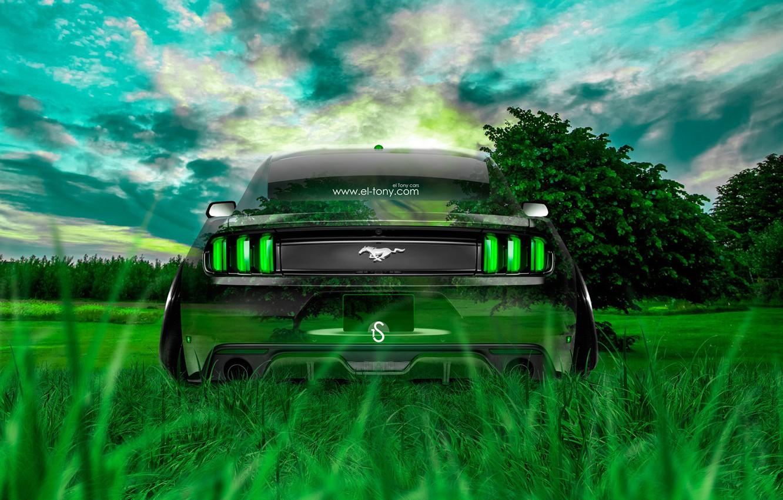 Photo wallpaper Mustang, Ford, Nature, Grass, Machine, Style, Ford, Wallpaper, Muscle, Mustang, Car, Nature, Grass, Green, Photoshop, …