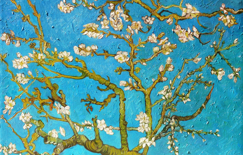 Photo wallpaper branch, picture, painting, blue, art, Vincent van Gogh, the almond tree, Almond Tree, Vincent van …