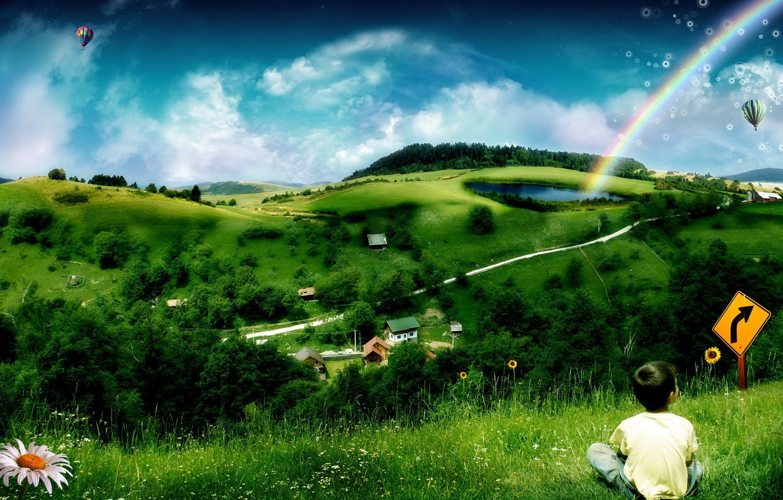 Photo wallpaper children, green, rainbow, Hills