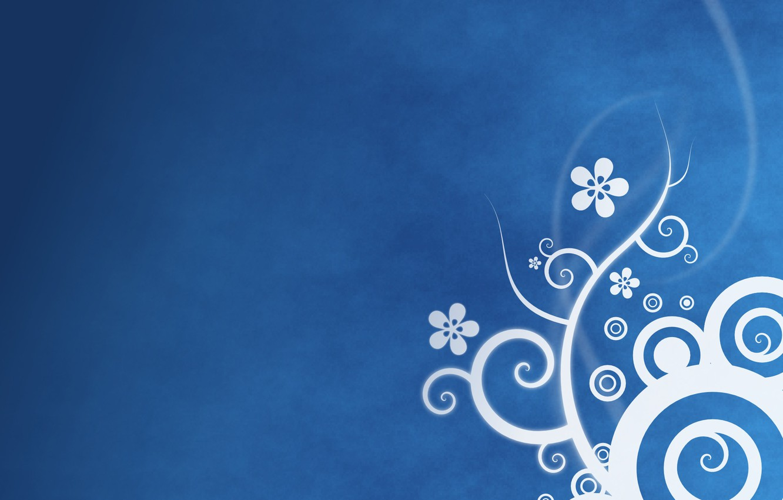 Photo wallpaper patterns, flowers, blue background