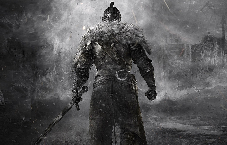 Photo wallpaper warrior, fur, knight, hardcore, Dark Souls, knight, dark souls