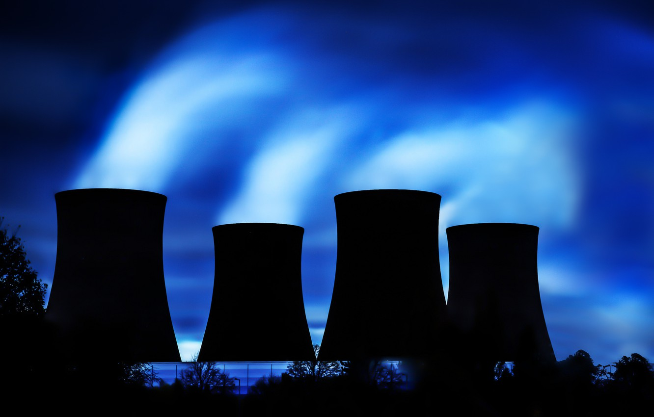 Photo wallpaper trees, night, silhouette, couples, CHP, cooling tower