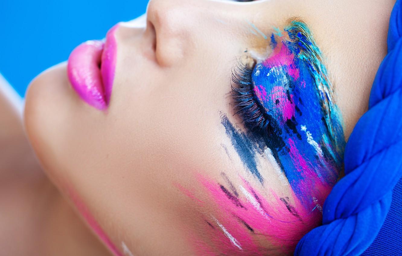 Photo wallpaper eyelashes, style, paint, makeup, lips, shadows, closed eyes