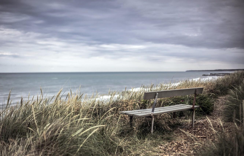 Photo wallpaper sea, shore, bench