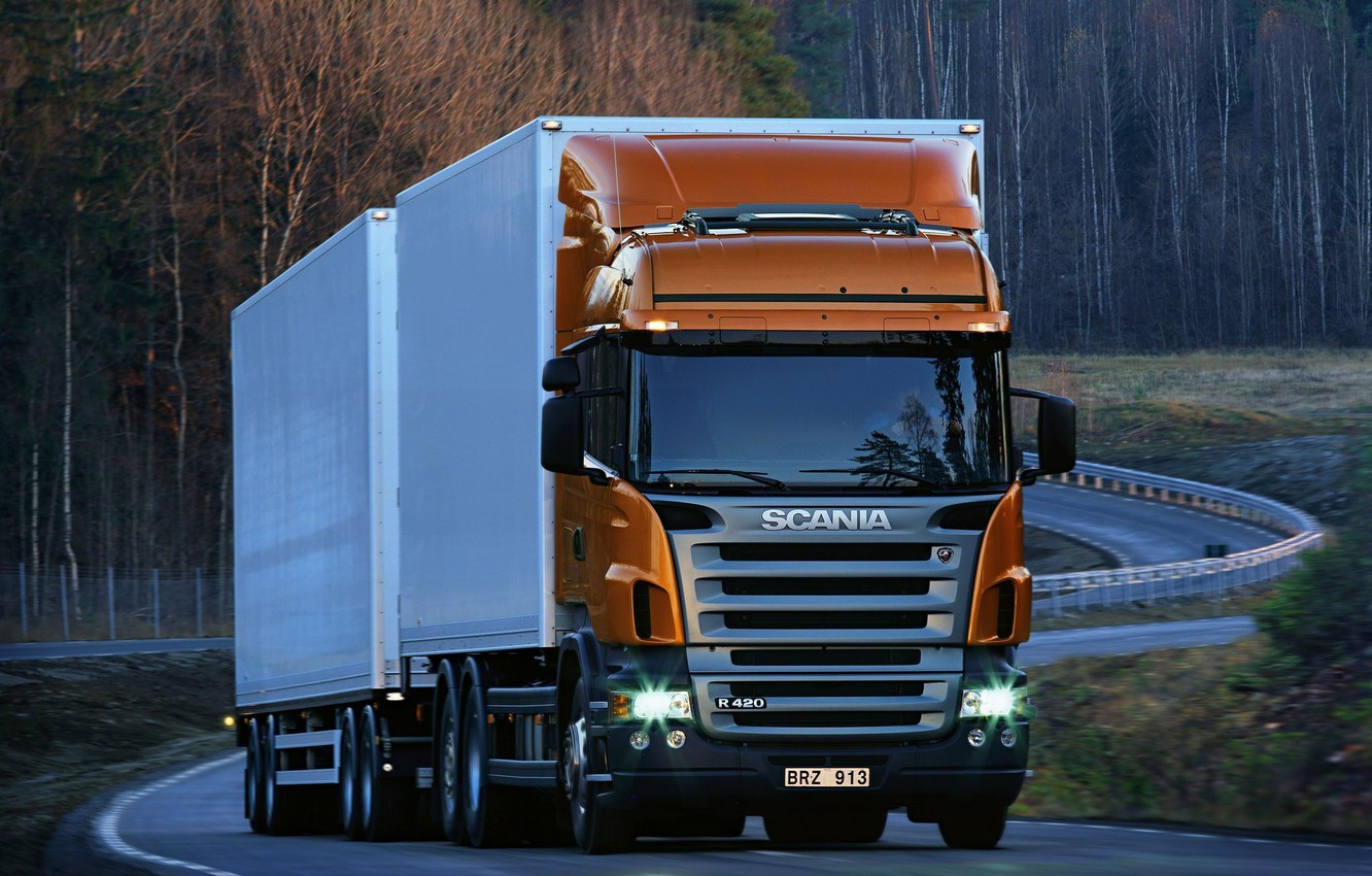 Photo wallpaper Road, Forest, Truck, The trailer, R420, Scania