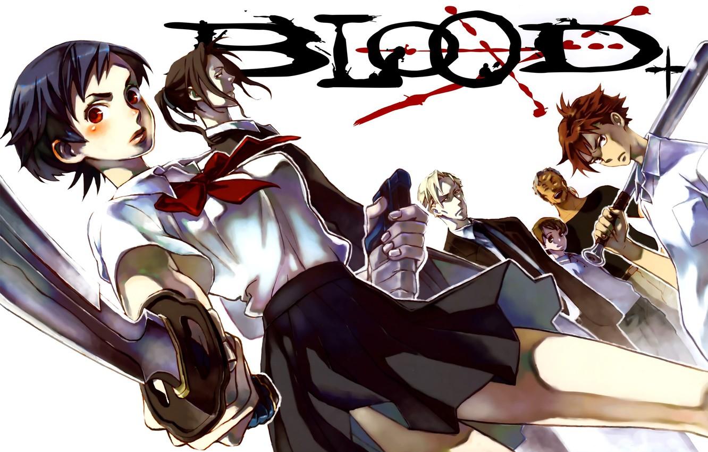 Photo wallpaper look, blood, katana, guys, bit, cool, Kai, Hagi, Saya Otonashi, Blood +, George Miyagusuku, Riku