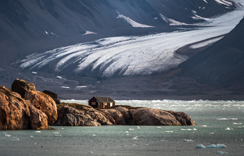 Photo wallpaper Arctic, Sergey Dolya, Svalbard, house on the edge of the earth, North sea
