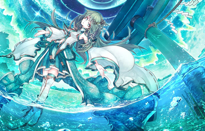 Photo wallpaper water, wave, anime, art, girl