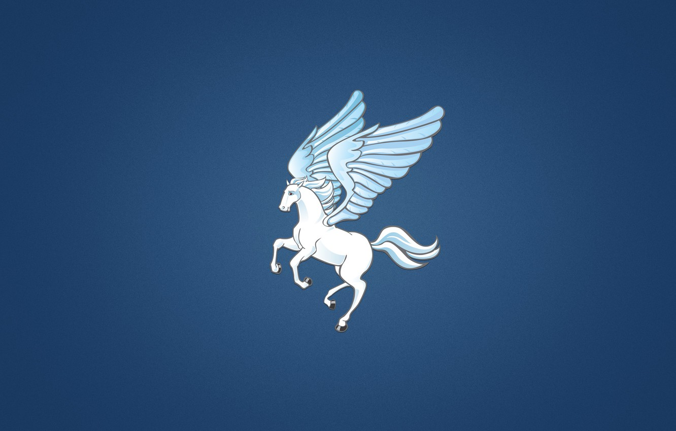 Wallpaper Horse Wings Minimalism White Blue Background Pegasus Pegasus The Winged Horse Images For Desktop Section Minimalizm Download