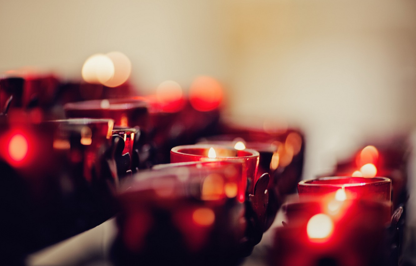 Photo wallpaper macro, background, candles