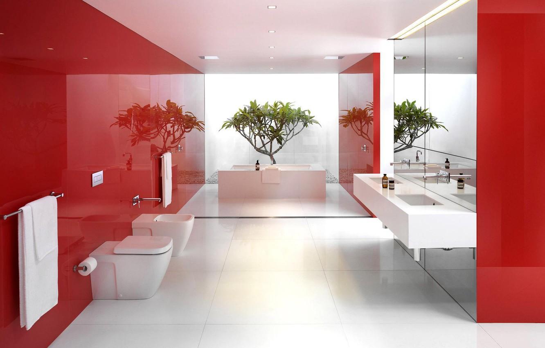 Photo wallpaper white, red, reflection, plant, bathroom, mirror