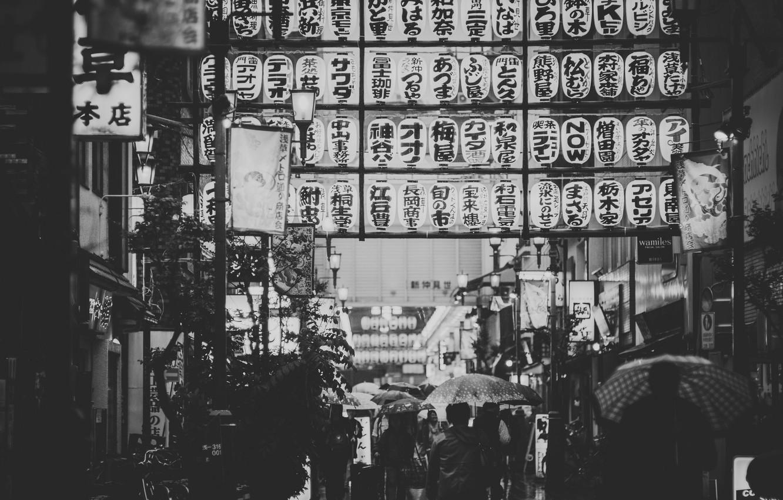 Photo wallpaper the city, people, rain, street, umbrellas, stores, restaurants, city, lampposts