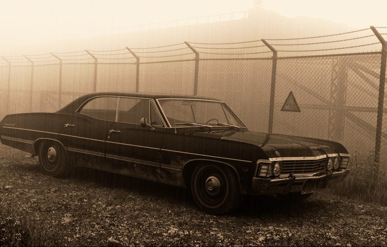Photo wallpaper sign, the fence, 1967, sedan, supernatural, hardtop, Сhevrolet Impala, pestka