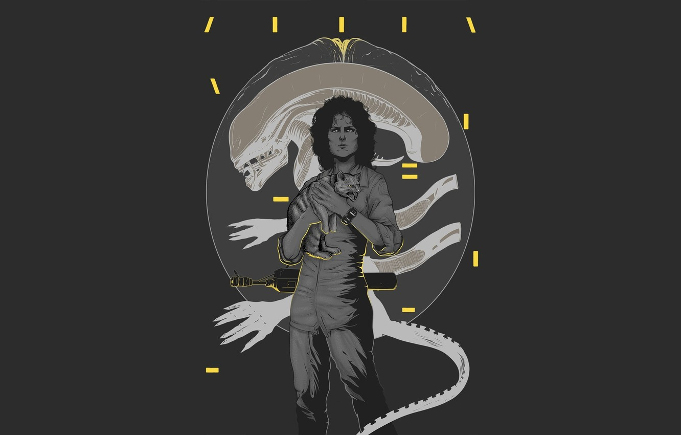 "Photo wallpaper cat, Alien, Ellen Ripley, ""Alien"", Sigourney Weaver,"