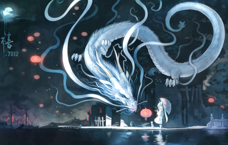 Photo wallpaper cat, night, the city, the moon, dragon, Marina, umbrella, art, lantern, vocaloid, hatsune miku, yuushouku